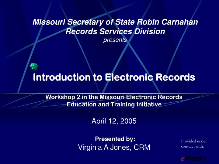 missouri secretary of state robin carnahan records services division presents n.