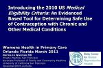 Womens Health in Primary Care Orlando Florida March 2011 Norma Jo Waxman MD