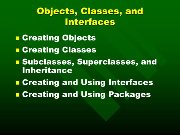 objects classes and interfaces n.