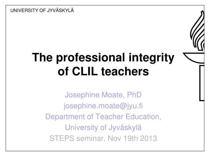 the professional integrity of clil teachers n.