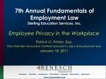 7th Annual Fundamentals of Employment Law Sterling Education Services, Inc.