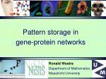 Pattern storage in gene-protein networks