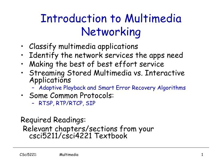introduction to multimedia networking n.