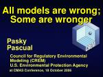 All models are wrong; Some are wronger