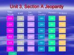 Unit 3, Section A Jeopardy