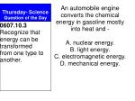 Thursday- Science Question of the Day