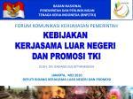 JAKARTA, MEI 2010 DEPUTI BIDANG KERJASAMA LUAR NEGERI DAN PROMOSI