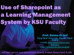 Use of Sharepoint as a Learning Management System by KSU Faculty