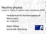 Neutrino physics Lecture 2: Theory of neutrino mass, and physics BSM?
