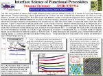 Interface Science of Functional Perovskites Susanne Stemmer DMR-0307914