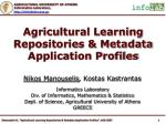 Agricultural Learning Repositories & Metadata Application Profiles