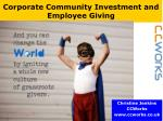 Corporate Community Investment and Employee Giving