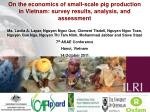 On the economics of small-scale pig production