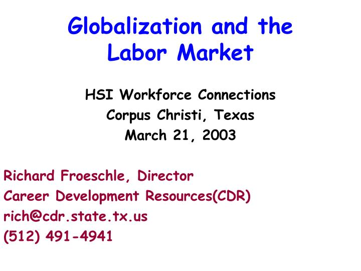 globalization and the labor market n.