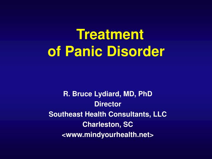 treatment of panic disorder n.
