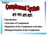 Introduction Activation of Complement  Regulation of the Complement Activation