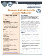 Volunteer Student Internship  Program Fact Sheet