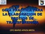 GUIA PRACTICA PARA LA ELABORACION DE PRECIOS DE TRANSFERENCIA