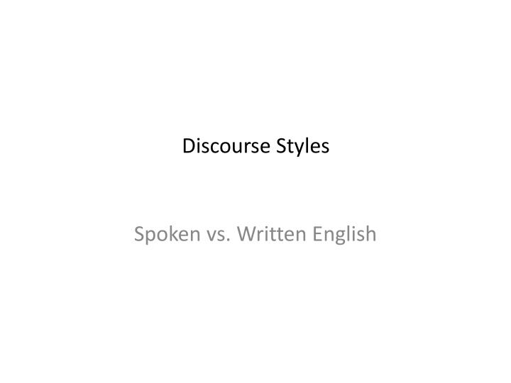 discourse styles n.