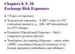 Chapters 8, 9, 10.  Exchange Risk Exposures