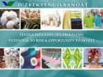 STATE STOCK - JOINT COMPANY O'ZBEKYENGILSANOAT