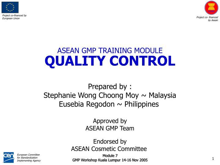 asean gmp training module quality control n.