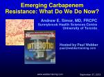 Emerging Carbapenem Resistance: What Do We Do Now?