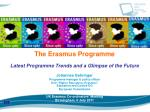 The Erasmus Programme Latest Programme Trends and a Glimpse of the Future Johannes Gehringer