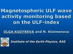 Magnetospheric ULF wave activity monitoring based on the ULF-index
