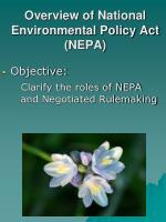 Overview of National Environmental Policy Act (NEPA)