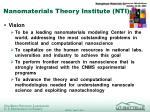 Nanomaterials Theory Institute (NTI)