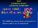 SFEI LOOKING BACK : LOOKING FORWARD