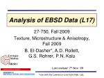 Analysis of EBSD Data (L17)
