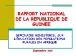RAPPORT NATIONAL DE LA REPUBLIQUE DE GUINEE