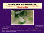 POLYETHYLENE BIODIGESTERS (PBD) Production of biogas and organic fertilizer from  animal manure