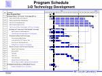 Program Schedule 3-D Technology Development