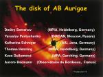 The disk of AB Aurigae