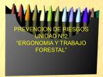 """PREVENCION DE RIESGOS UNIDAD N°2 """"ERGONOMIA Y TRABAJO FORESTAL"""""""