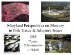 Maryland Perspectives on Mercury in Fish Tissue & Advisory Issues