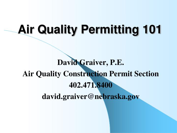 air quality permitting 101 n.