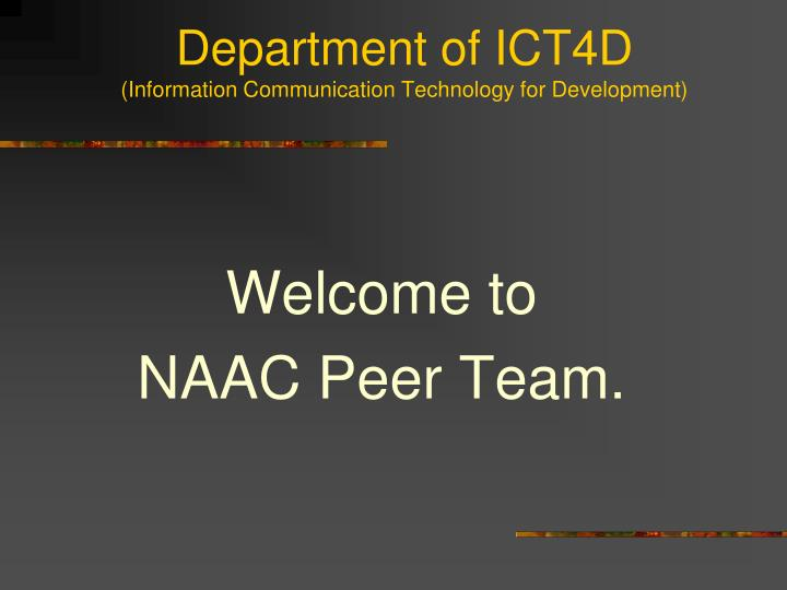 department of ict4d information communication technology for development n.