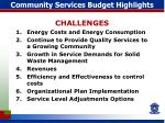 Community Services Budget Highlights
