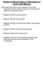 Extract of Record Notes of Discussion of ULDC O&M Meeting