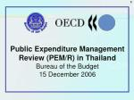 Public Expenditure Management Review (PEM/R) in Thailand Bureau of the Budget 15 December 2006