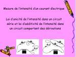 Mesure de l'intensité d'un courant électrique
