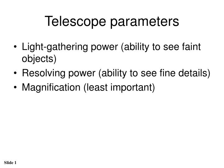 telescope parameters n.