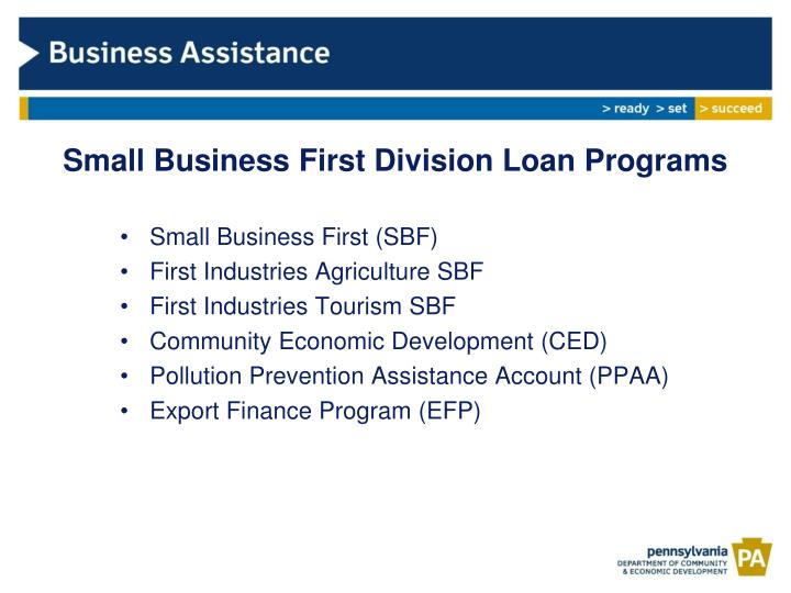 small business first division loan programs n.
