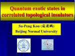Quantum exotic states in correlated  topological insulators
