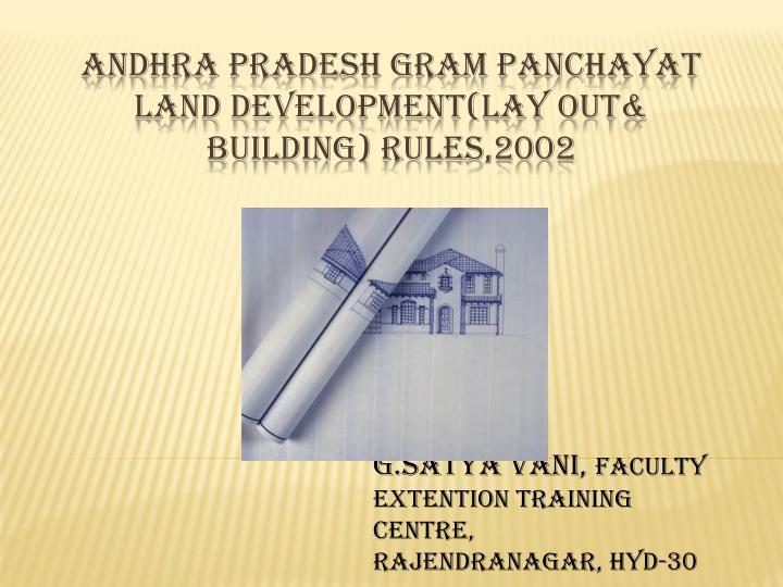 by g satya vani faculty extention training centre rajendranagar hyd 30 n.