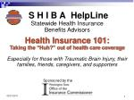 S H I B A HelpLine Statewide Health Insurance  Benefits Advisors Health Insurance 101: